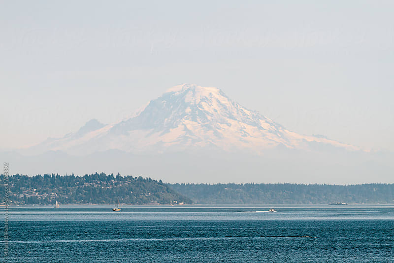 View of Mount Rainier on a sunny summer day from the water by Mihael Blikshteyn for Stocksy United