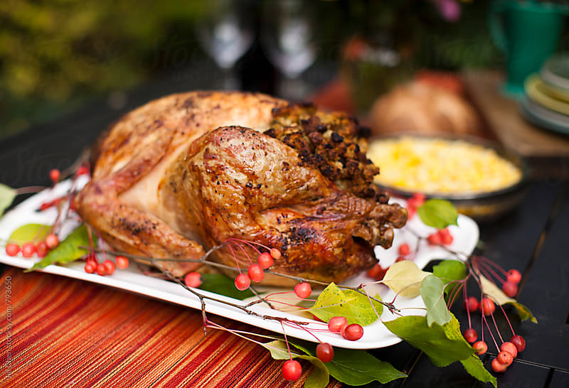 Roast Turkey at the Dinner Table by Jill Chen for Stocksy United