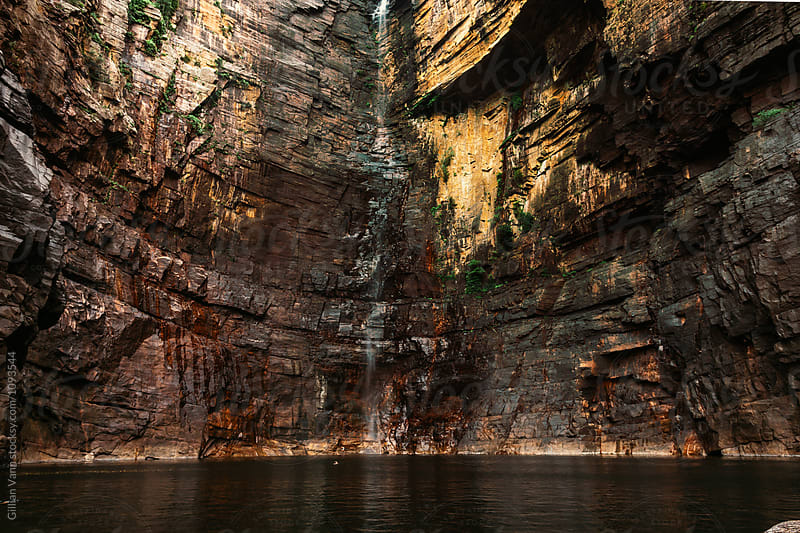 high cliffs and a waterfall in Kakadu NP, Australia by Gillian Vann for Stocksy United