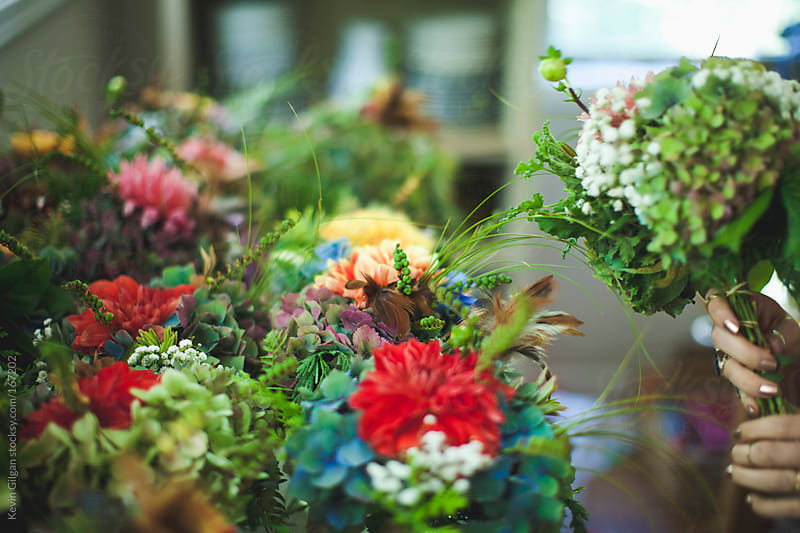 Close up of flower bouquets by Kevin Gilgan for Stocksy United