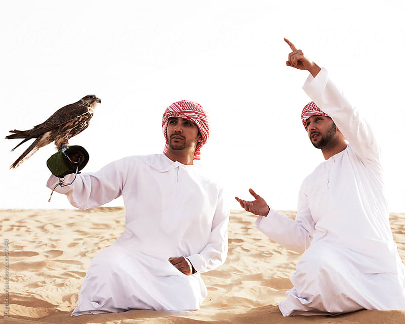 Arab Falconers with falcon in the desert of Dubai. UAE by Hugh Sitton for Stocksy United