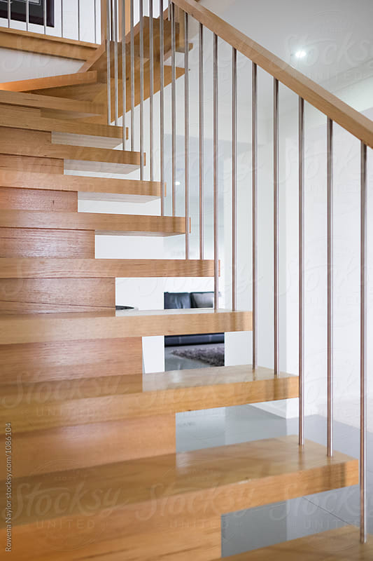 Detail of timber staircase by Rowena Naylor for Stocksy United