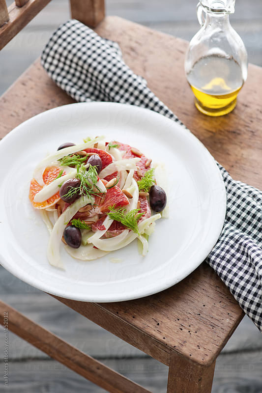 Food: Blood Orange and Fennel Salad by Ina Peters for Stocksy United