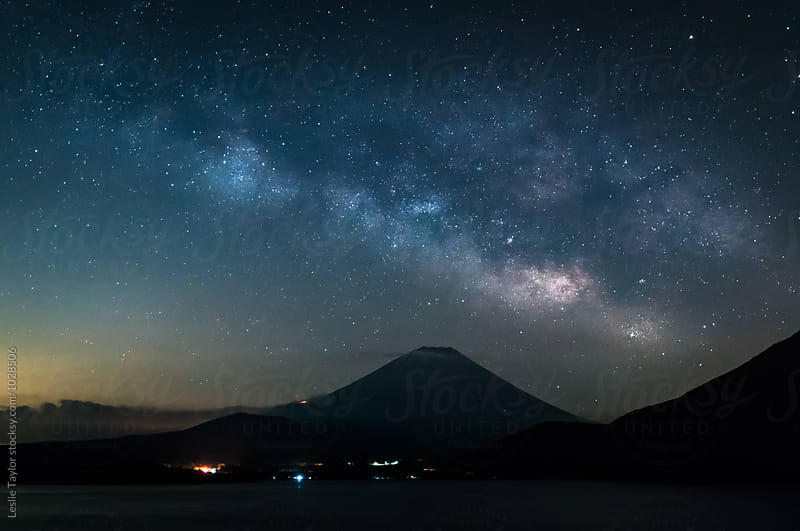 The Milky Way Draped Over Fuji by Leslie Taylor for Stocksy United