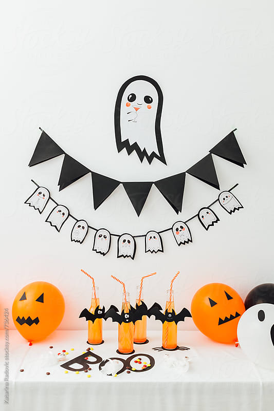 Halloween Kids Party Decoration With Balloons and Drinks by Katarina Radovic for Stocksy United