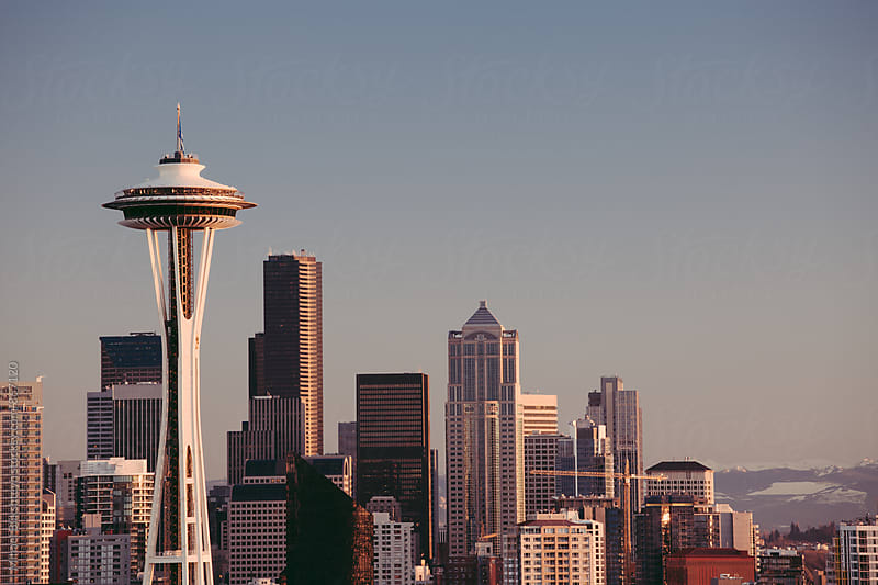 Classic vintage view of downtown Seattle with Space Needle by Mihael Blikshteyn for Stocksy United
