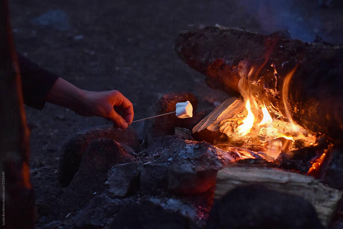 Man Roasting Marshmallows Over A Bonfire By Lyuba Burakova For Stocksy United