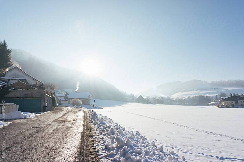 Winter landscape in Elsbethen, near Salzburg, austria by Robert Kohlhuber for Stocksy United