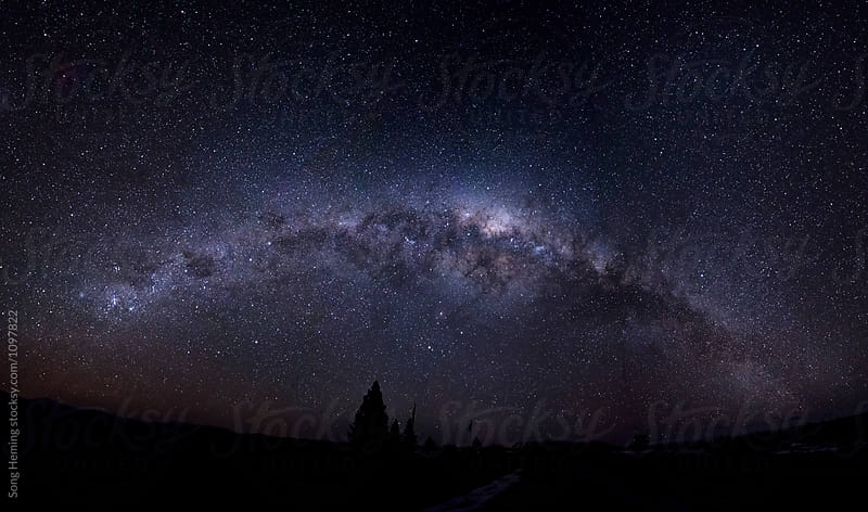 A full panorama of the Galaxy over the land by Song Heming for Stocksy United