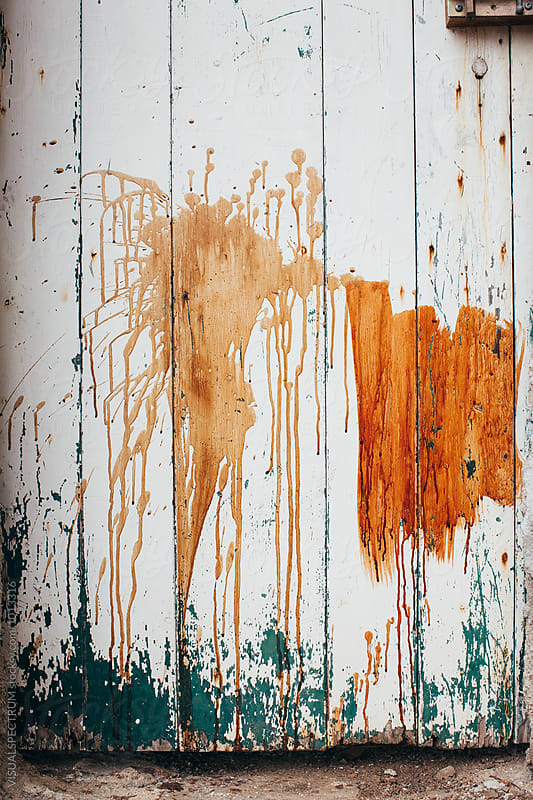 Paint Stains on White Wooden Door by Julien L. Balmer for Stocksy United