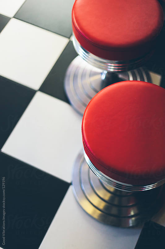 Red Stools in a Fast Food by Good Vibrations Images for Stocksy United