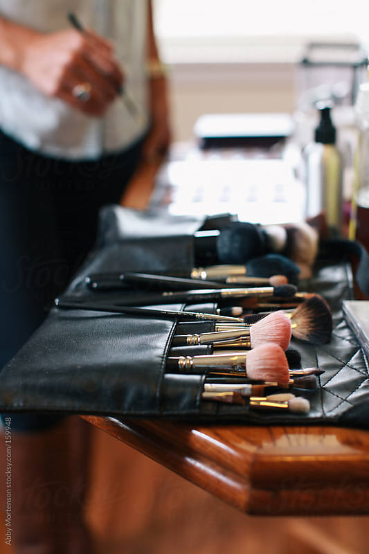 Makeup Tools on Table  by Abby Mortenson for Stocksy United