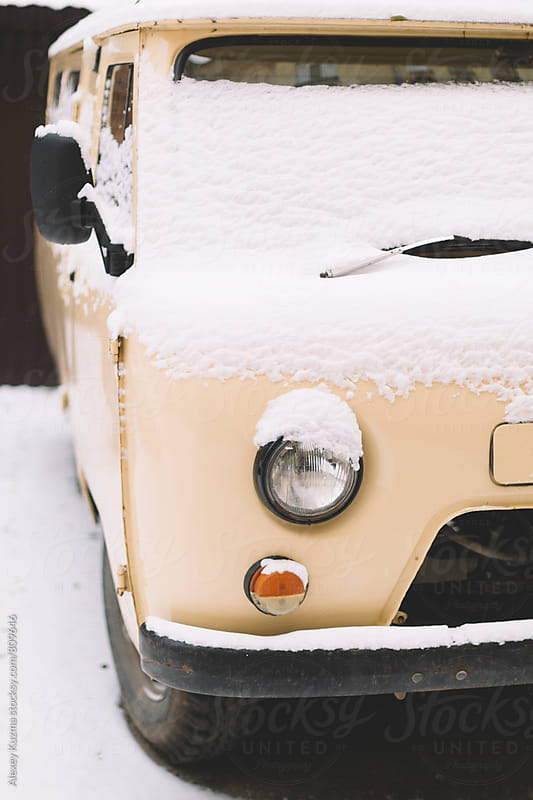 frozen vintage van by Alexey Kuzma for Stocksy United