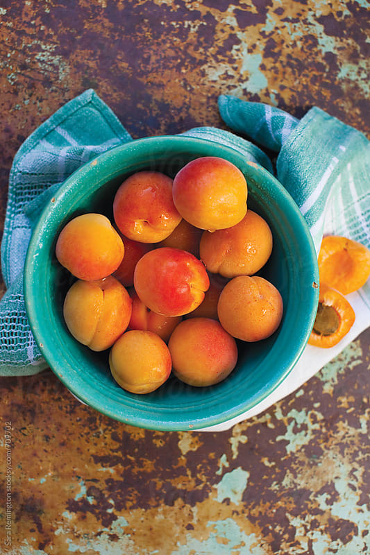 Organic Apricots in Blue Bowl by Sara Remington for Stocksy United