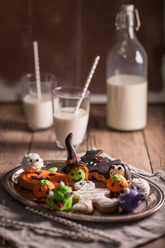 Halloween Treats and Milk by Mosuno for Stocksy United