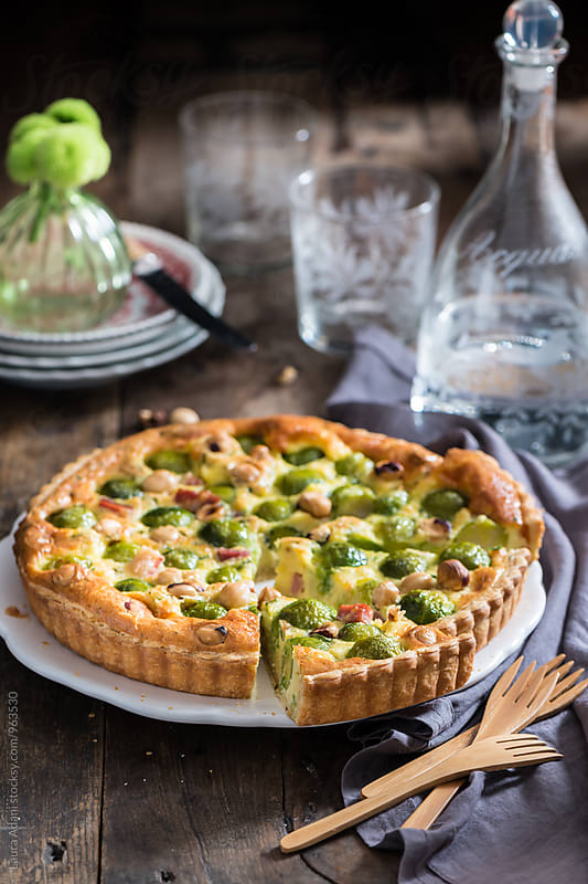 Brussel sprouts quiche by Laura Adani for Stocksy United