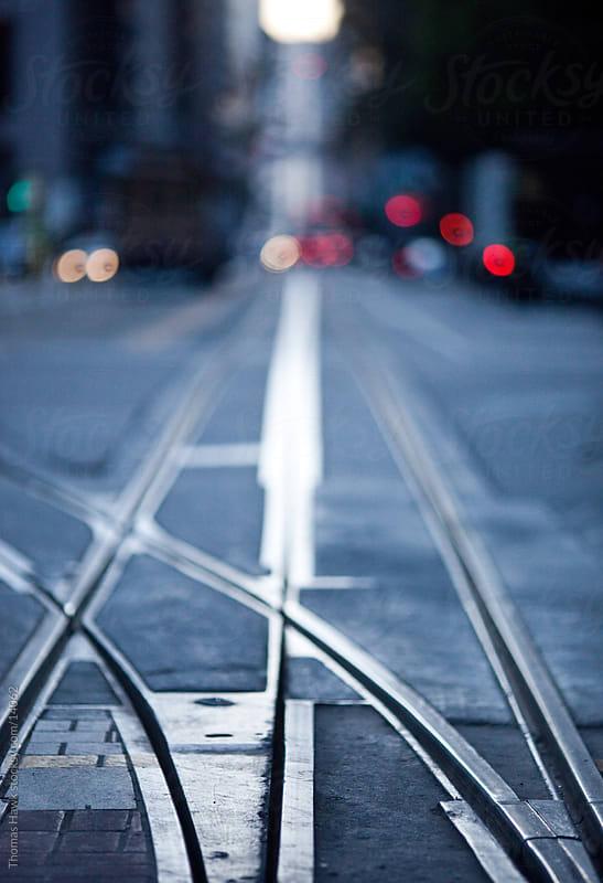 Cable Car Tracks up California Street, San Francisco, CA by Thomas Hawk for Stocksy United