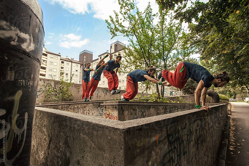 Practising Parkour in the City by Mosuno for Stocksy United