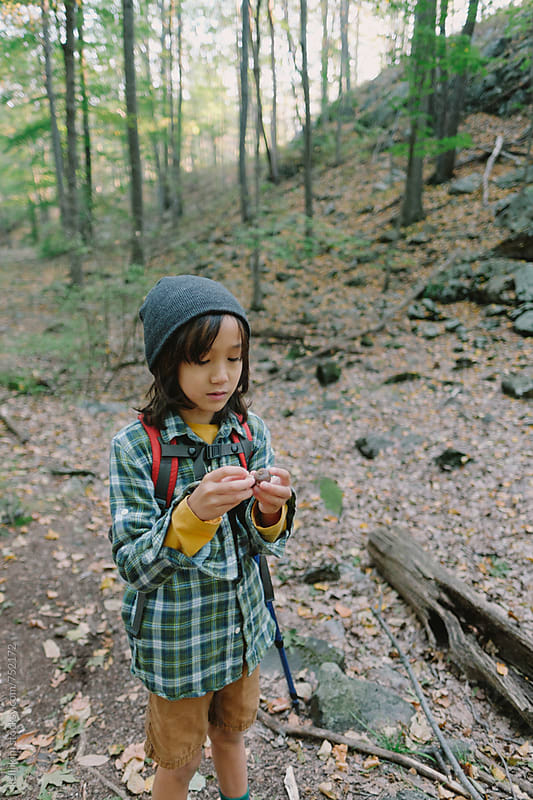 Young boy examines acorns he found on hike by kelli kim for Stocksy United
