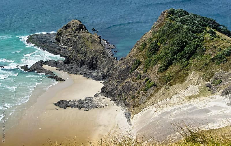 Deserted sand beach coast at Tasman Sea between Cape Reinga and Cape Maria van Diemen at northern ti by Gabriel Diaz for Stocksy United