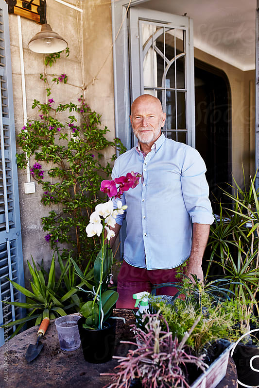 Happy Senior Man Gardening On Balcony by ALTO IMAGES for Stocksy United