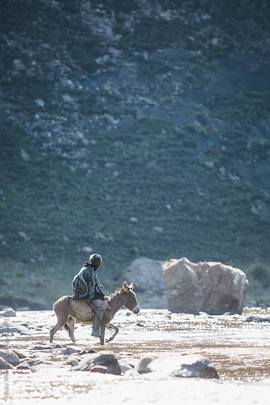 Basotho muleteer crossing a mountain river on a donkey by Micky Wiswedel for Stocksy United