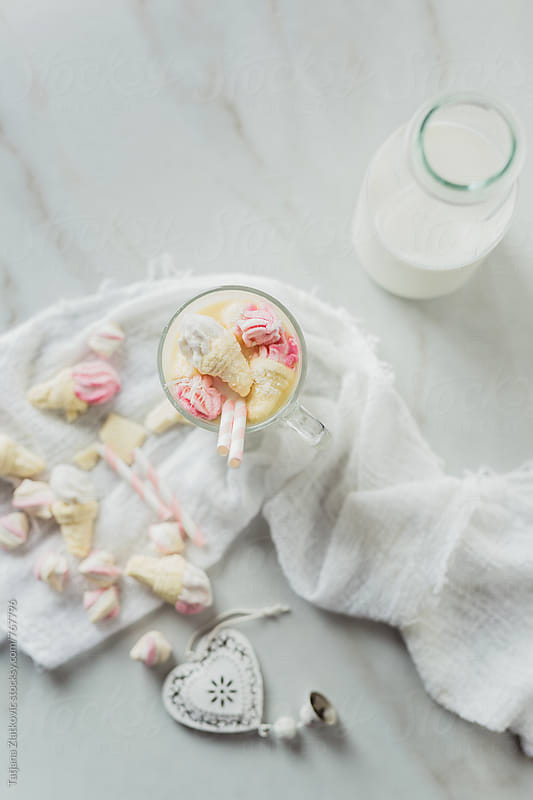 White hot chocolate with marshmallows by Tatjana Ristanic for Stocksy United