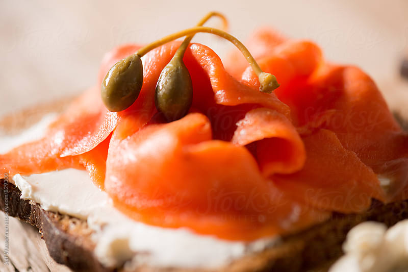 Smoked Salmon and Cream Cheese with Capers by Jeff Wasserman for Stocksy United