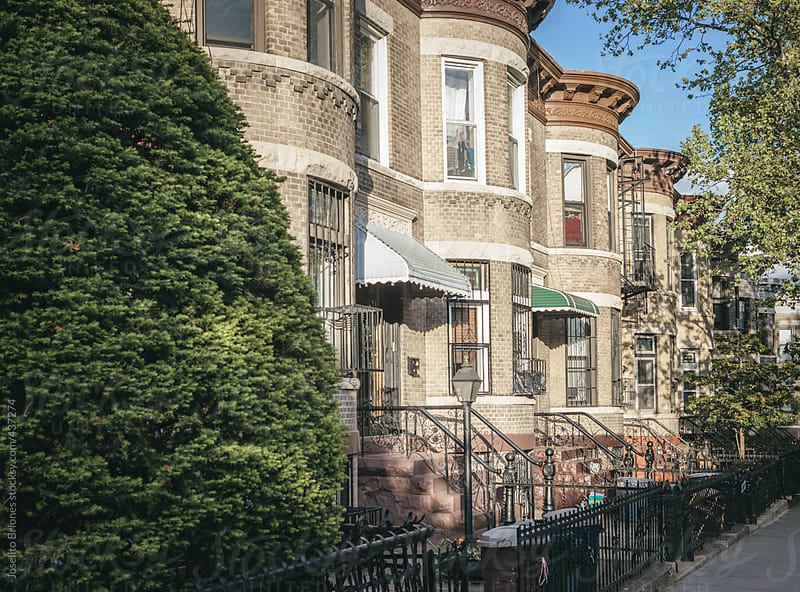 Rowhouses in Sunset Park's Residential Neighborhood in Brooklyn, New York by Joselito Briones for Stocksy United