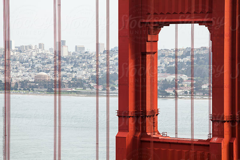 View of downtown San Francisco through the Golden Gate bridge. by Robert Zaleski for Stocksy United