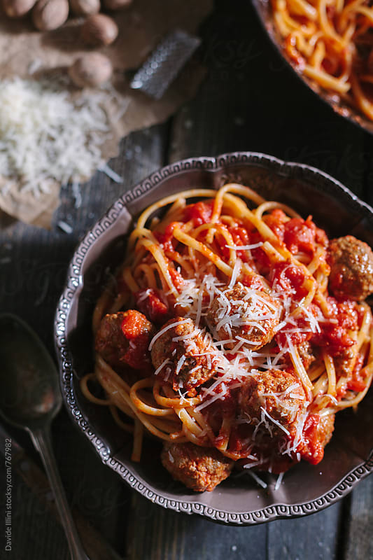 Spaghetti with meatballs by Davide Illini for Stocksy United