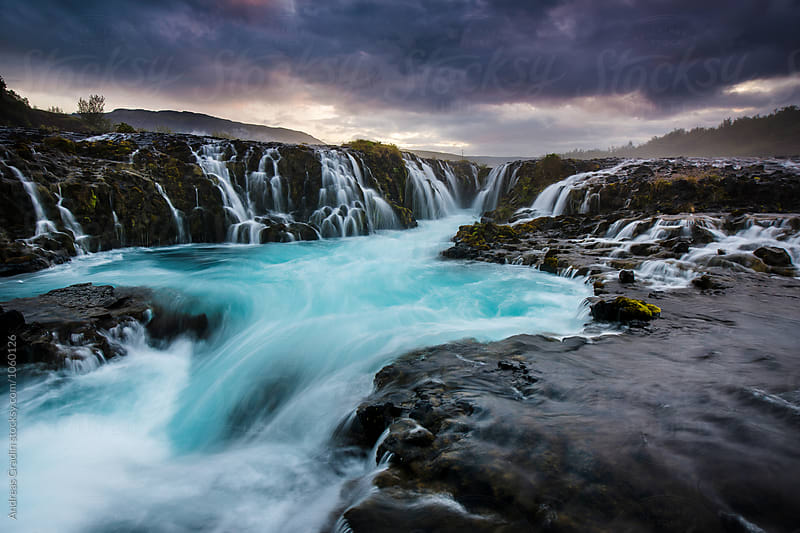 Icelandic waterfall Bruarfoss by Andreas Gradin for Stocksy United