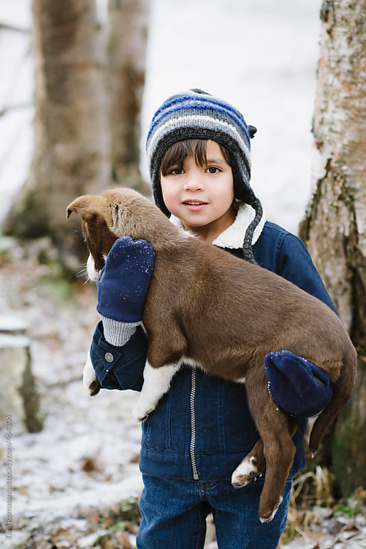boy carries a large brown puppy by Tara Romasanta for Stocksy United