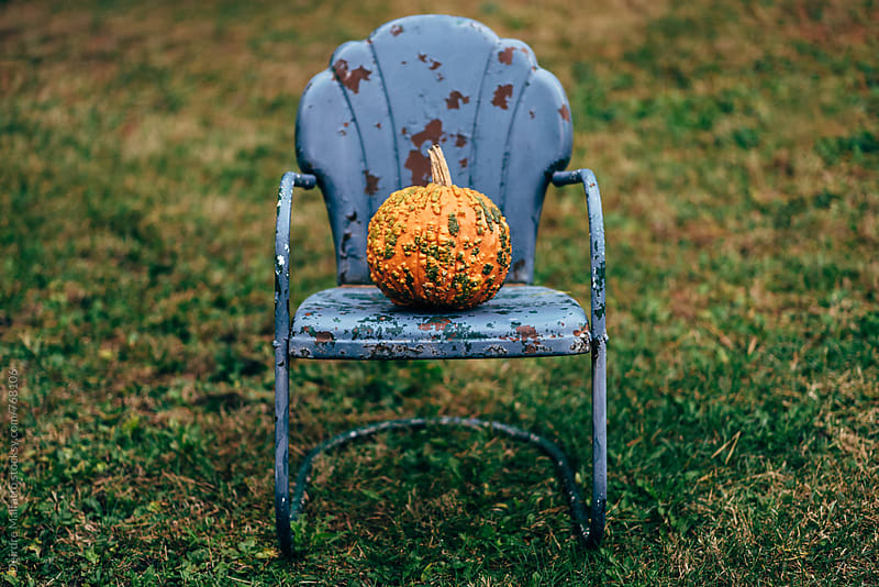 old metal lawn chair with a warty orange pumpkin by Deirdre Malfatto for Stocksy United
