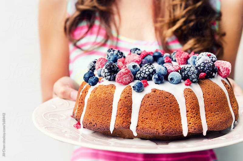 Summer mixed berry bundt cake by Jill Chen for Stocksy United
