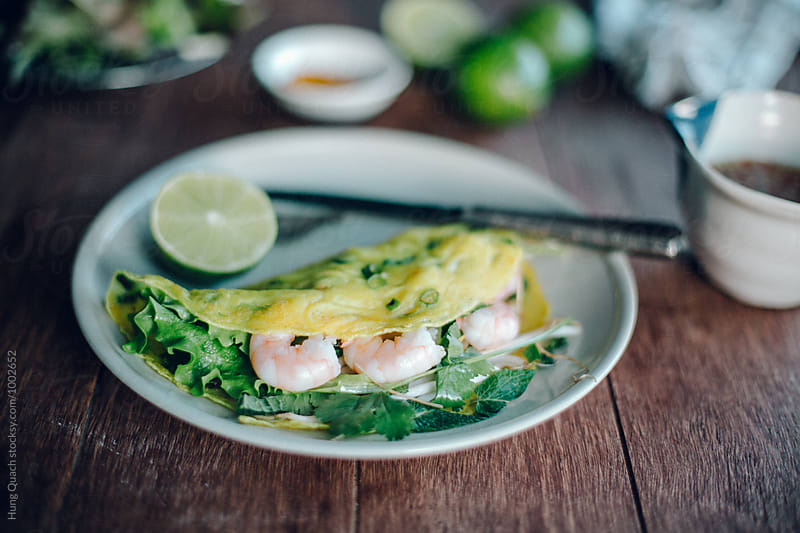 Vietnamese Prawn Pancakes by Hung Quach for Stocksy United