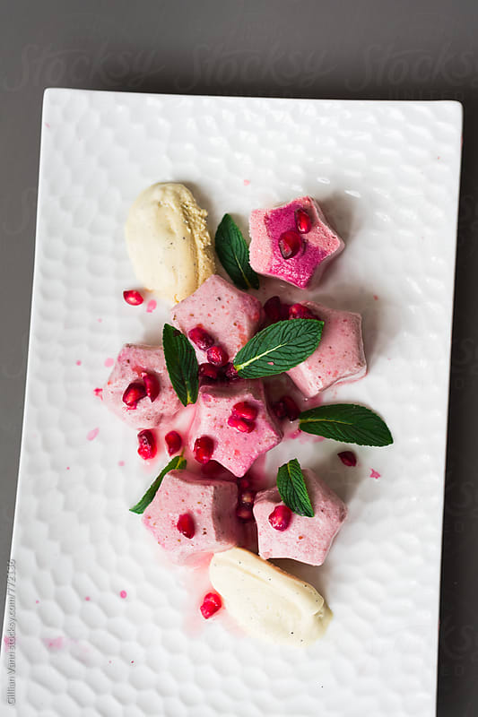 pink fruit flavored star shaped frozen dessert with pomegranate and mint by Gillian Vann for Stocksy United