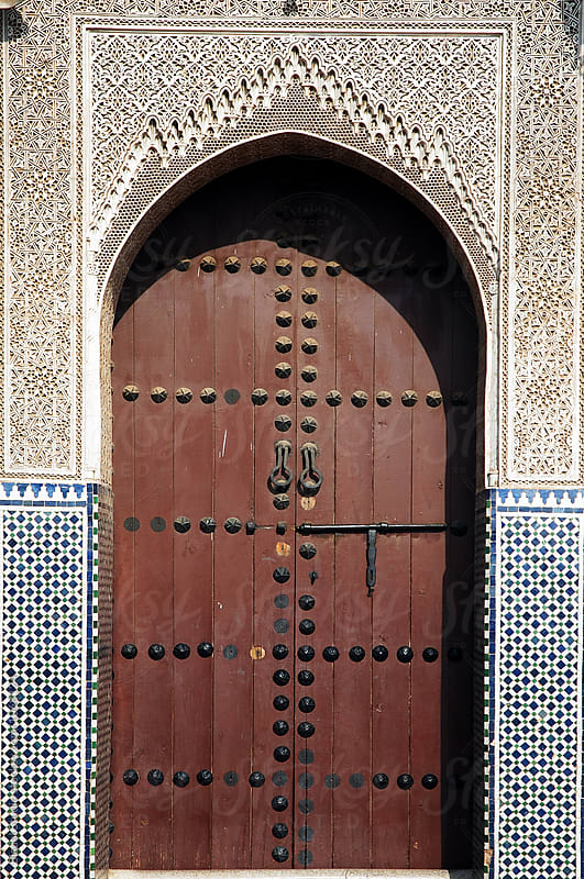 Wooden door in the medina in Marrakech, Morocco by Bisual Studio for Stocksy United