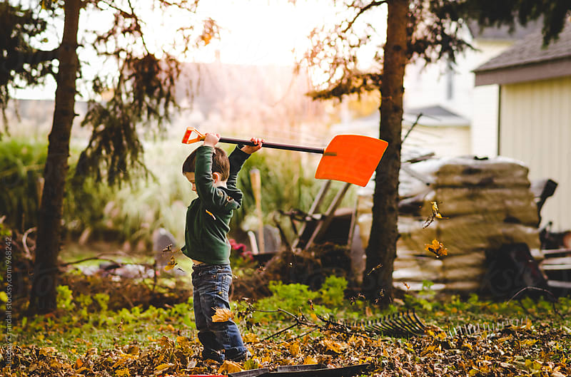Boy holding a shovel overhead while doing yardwork by Lindsay Crandall for Stocksy United