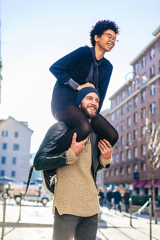 Back Girl Ride on Her Boyfriend and Having Fun by HEX. for Stocksy United