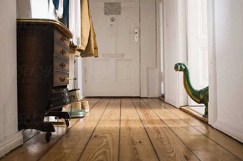 Toy dinosaur in the hallway by Ivar Teunissen for Stocksy United