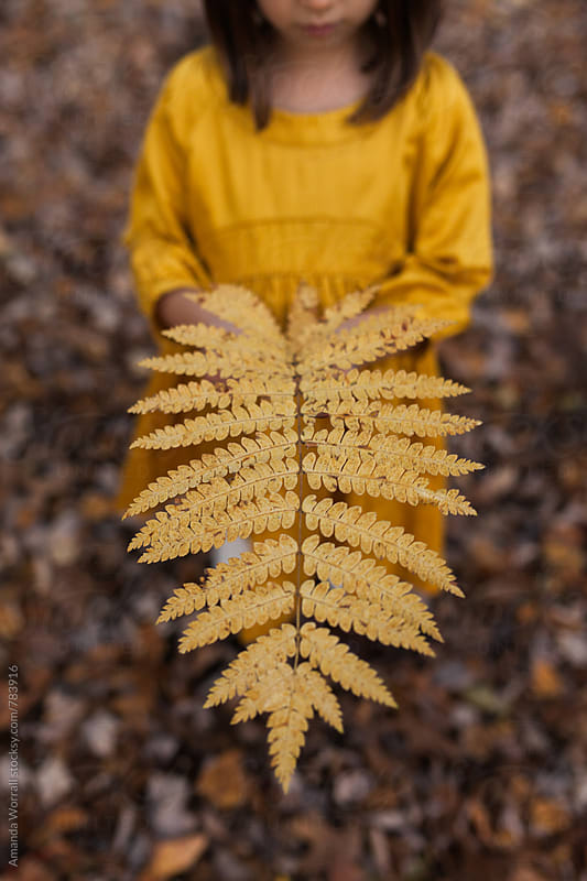 Girl holding a gold fern leaf in fall by Amanda Worrall for Stocksy United