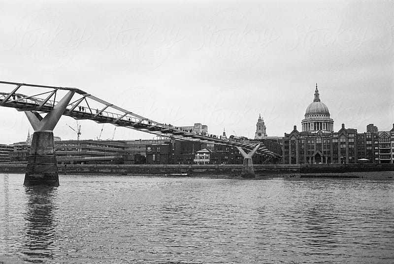Millennium Bridge and St. Paul's on a winter's day by Kirstin Mckee for Stocksy United
