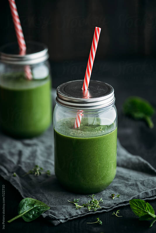 Food: Green Smoothie in Jars by Ina Peters for Stocksy United