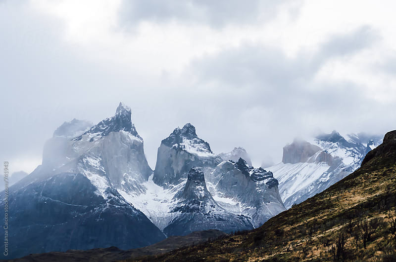 A view of Cuernos mountains in the Chilean Patagonia during winter by Constanza Caiceo for Stocksy United