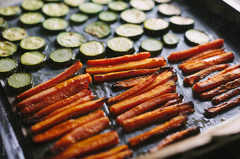 Roasted carrots and zucchini by Davide Illini for Stocksy United