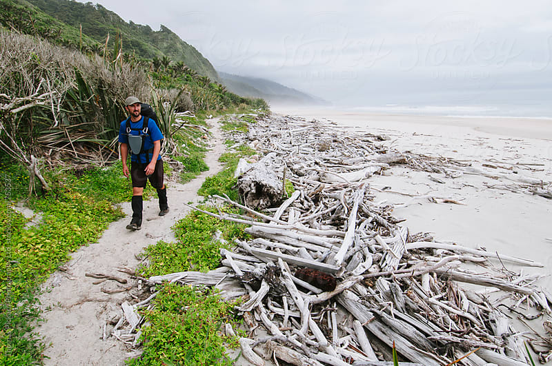 Male trekker walking The Heaphy Track, Kahurangi National Park, New Zealand. by Thomas Pickard for Stocksy United