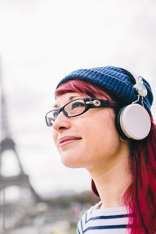 Girl listening to music by michela ravasio for Stocksy United