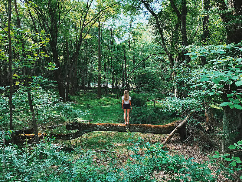 Girl in the Woods by Taylor Kampa for Stocksy United