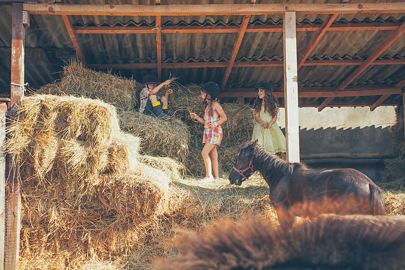 Kids Playing With Horses in the Straw by Lumina for Stocksy United